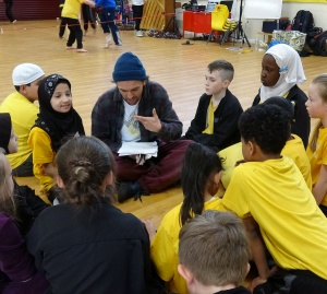 baletLORENT dancer Gavin Coward running a dance workshop with Hawthorne Primary School